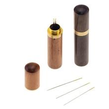 1 caja de almacenamiento de agujas de madera DIY caja de almacenamiento de puntadas de mano caja de Porta agujas de costura caja de herramientas de almacenamiento de agujas de bordado