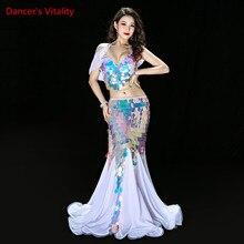 Bellydance ubrania syrenka Sexy długa sukienka cekiny kobiet orientalne stroje taniec brzucha na sprzedaż taniec stroje biustonosz + spódnica garnitur