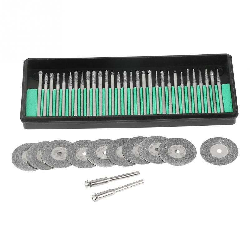 30pcs Diamond Burs + 10pcs S Cutting Discs + 2pcs Mandrels Tools Accessories