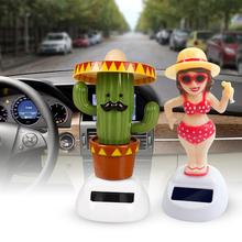 New Car Ornaments Solar Beach Girl Cactus Automatic Swing Ca