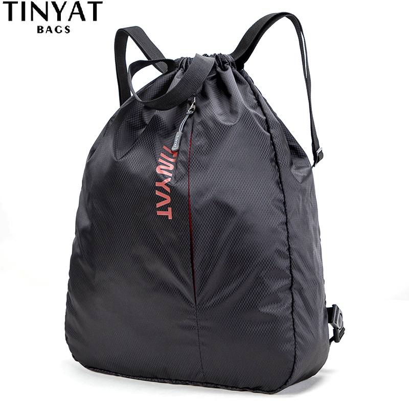 TINYAT Drawstring Pocket Bag Sports Waterproof Backpack Black Sport Backpack For Men Women