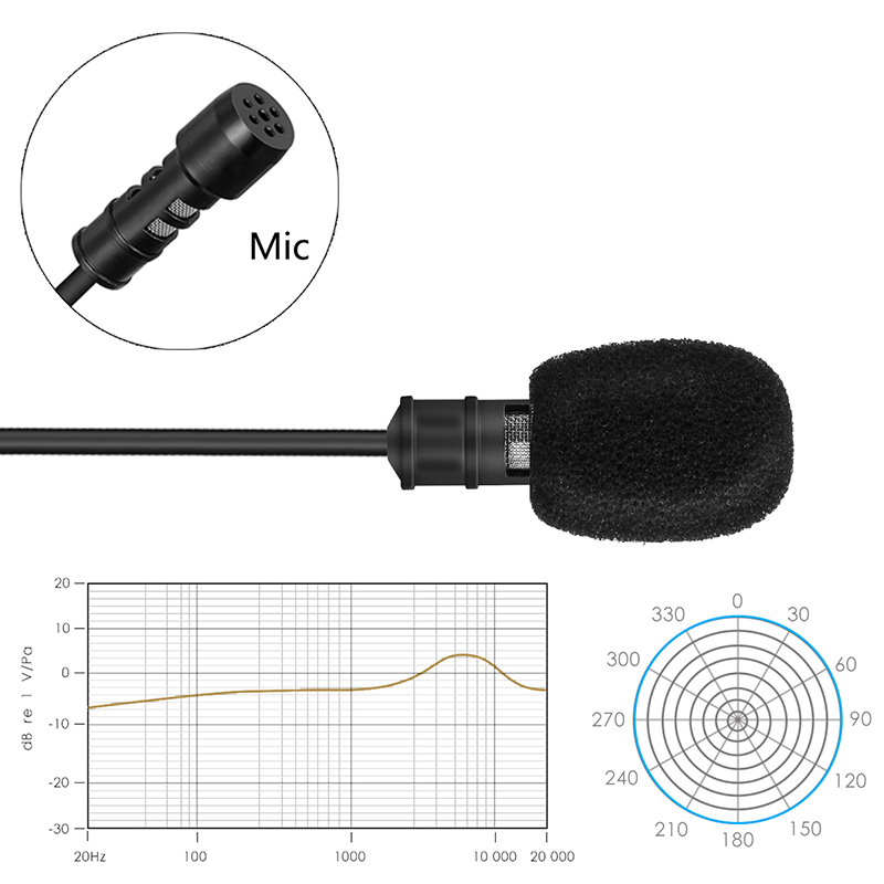 Lavalier Microphone 5.8m Cable Lapel Clip On Mic For Recording Interview Video Conference Podcast LHB99