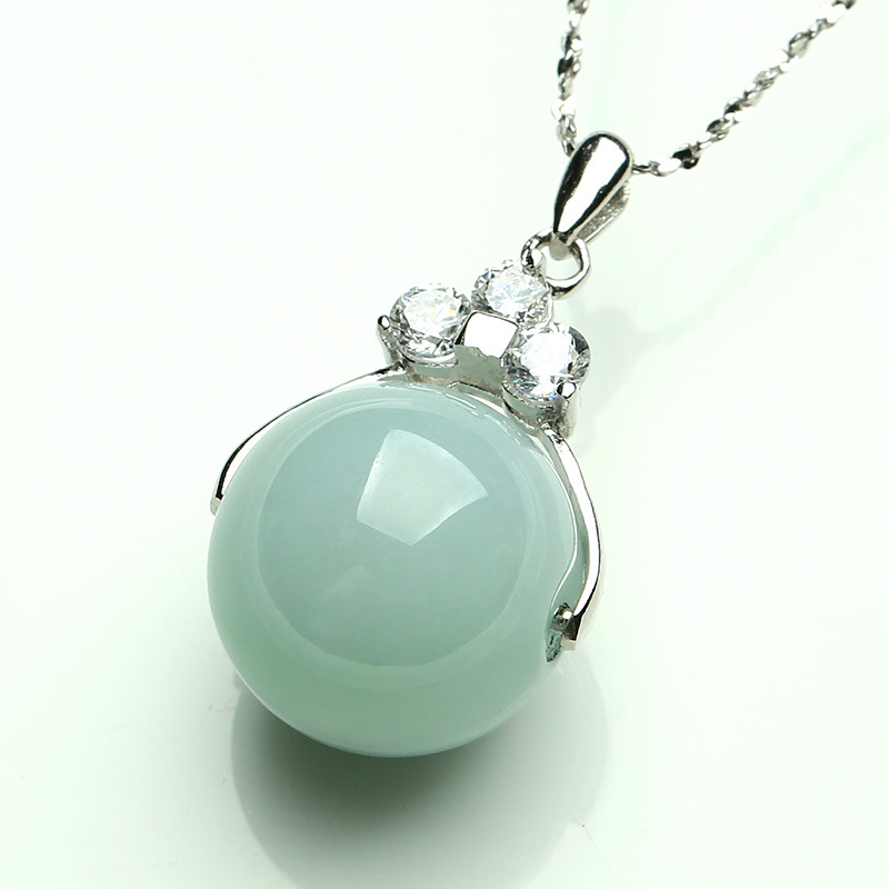 Natural Chinese HeTian White Jade Bead Pendant Beautiful 925 Silver Necklace Fashion Charm Jewelry for Men Women Gifts