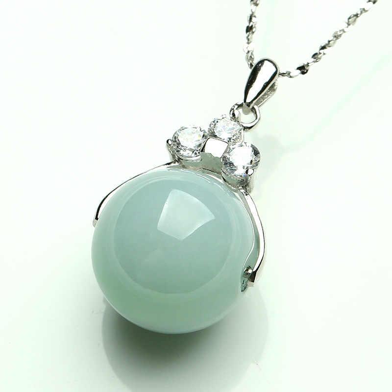 Naturalny chiński HeTian biały Jade wisiorek z koralików piękny naszyjnik ze srebra próby 925 moda urok biżuterii dla kobiet mężczyzn prezenty