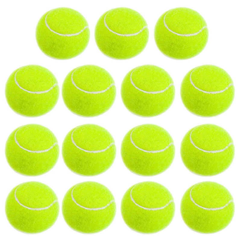 15pcs High Resilience Tennis Ball For Training Sport Rubber Woolen Tennis Balls For School Club Competition Training Exercises