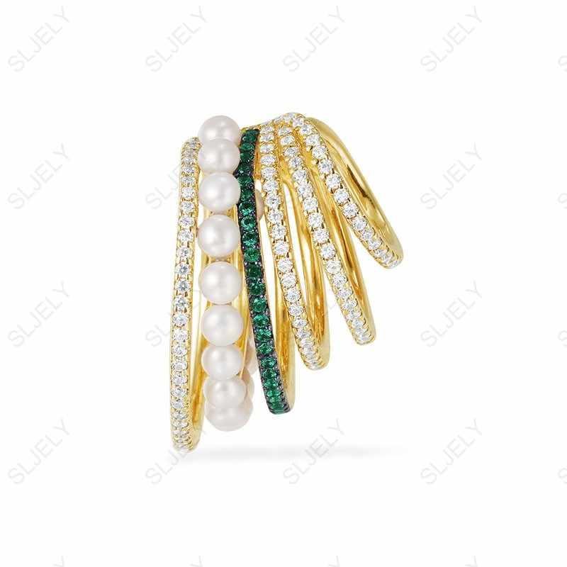 SLJELY mujeres de lujo 925 Plata de Ley blanco y verde Zirconia Multi aro oreja brazalete con perlas No piercing Clip pendiente una pieza