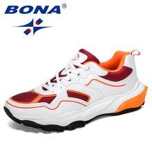 BONA 2019 Novo Designer de Tênis de corrida Dos Homens de Esportes Ao Ar Livre Aumentou Tênis de Fundo Andando Athletic Shoes Homem Calçado De Corrida