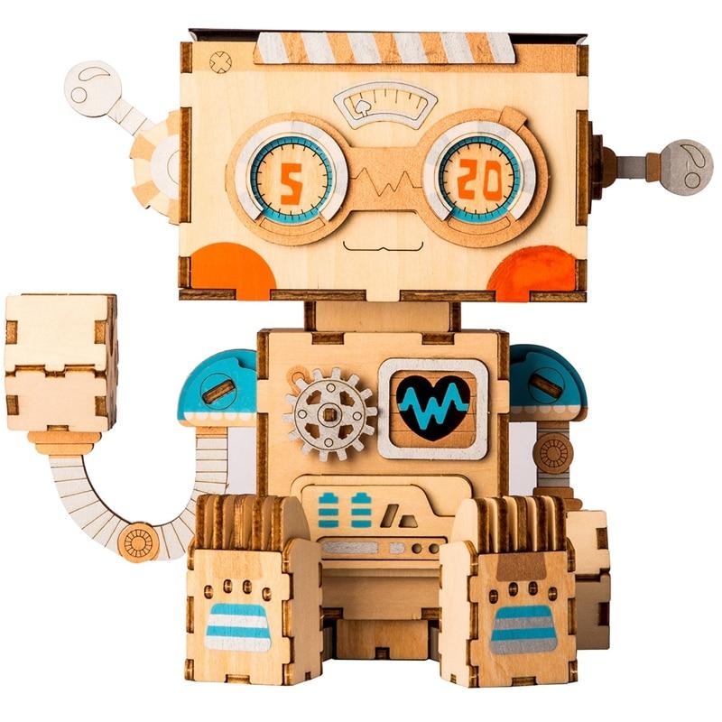 Robotime 3D Wooden Robot Puzzle Game Creative Flower Pot Storage Box Pen Holder Model Building Kit Children's Toys Adult FT761