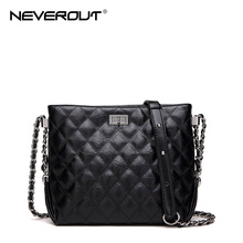 NEVEROUT 2 Size Classic Lattice Hobo Handbags Fashion Cross Body Bag High Quality Split Leather Lady Twist Lock Shoulder