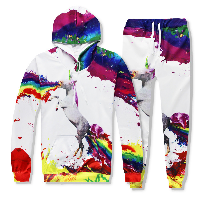 2020 New Men Casual Hooded Suits Unicorn Hot Sale 3D Digital Printing Hooded Sets Man Hip Hop Male Sets Long Sleeve Large Size