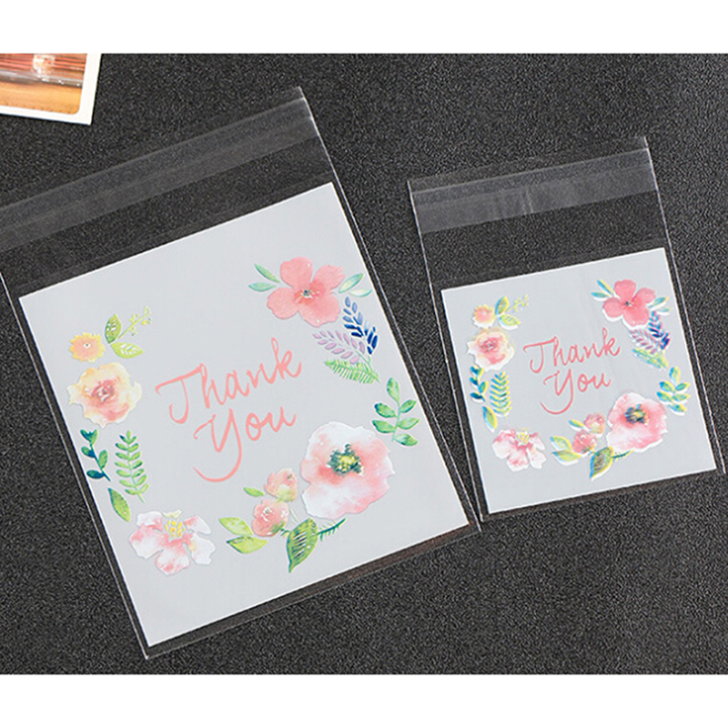 2019 100 Pcs/Pack 2 Size 7*7 /10*10CM Plastic Cookie Packaging Bags Cupcake Wrapper Self Adhesive Candy Gift Bags