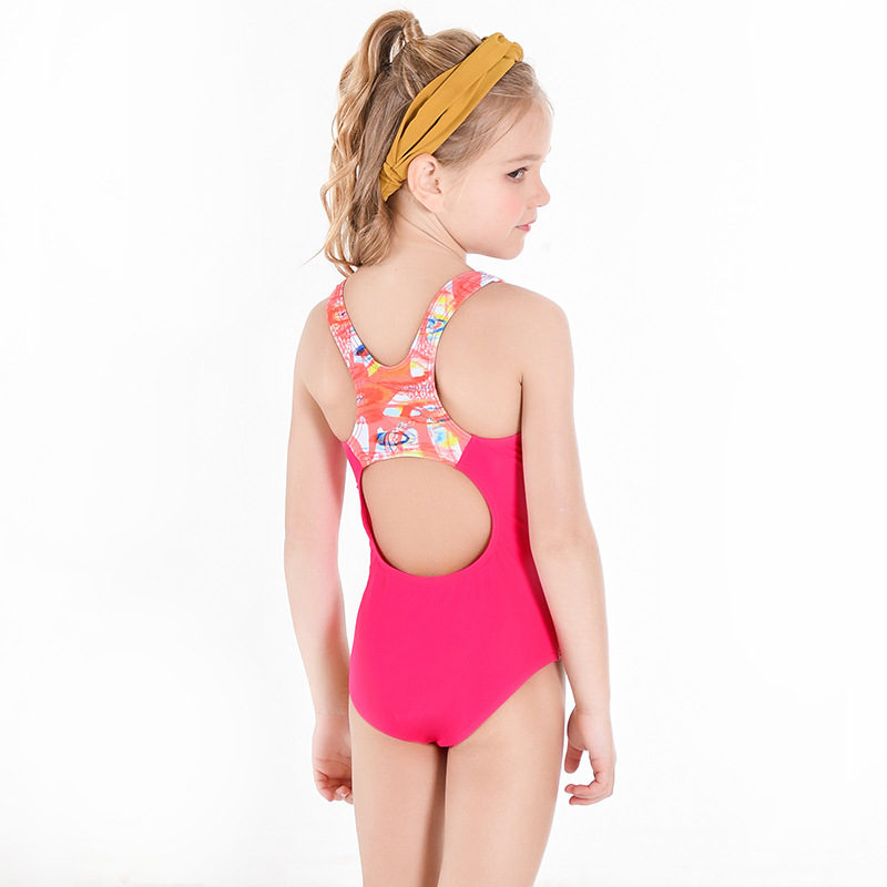 New Style KID'S Swimwear Baby Girls One-piece Wide Cross Camisole Briefs Sports Tour Bathing Suit Medium-small GIRL'S Swimsuit