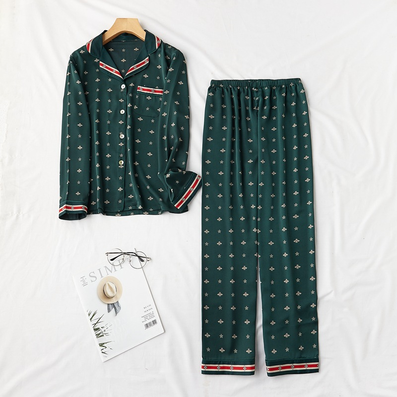 Fiklyc Pajamas Women's Long-Sleeved Trousers Lapel Two-Piece Spring And Summer Silk Home Service Suit