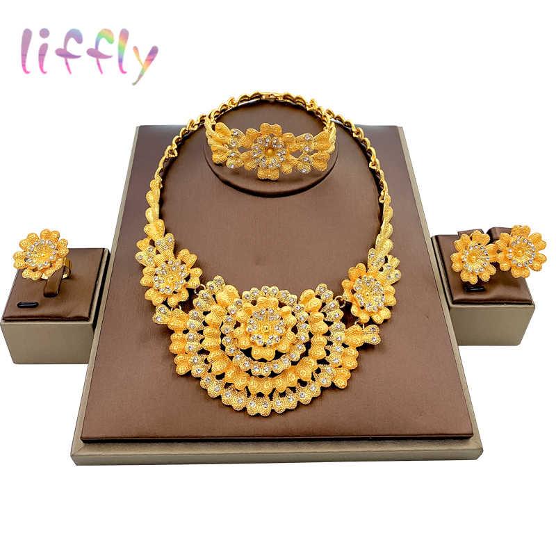 Liffly conjunto de joyas etíopes, cuentas nigerianas, traje africano de boda, collar de oro de Dubái, juegos de joyas para mujer