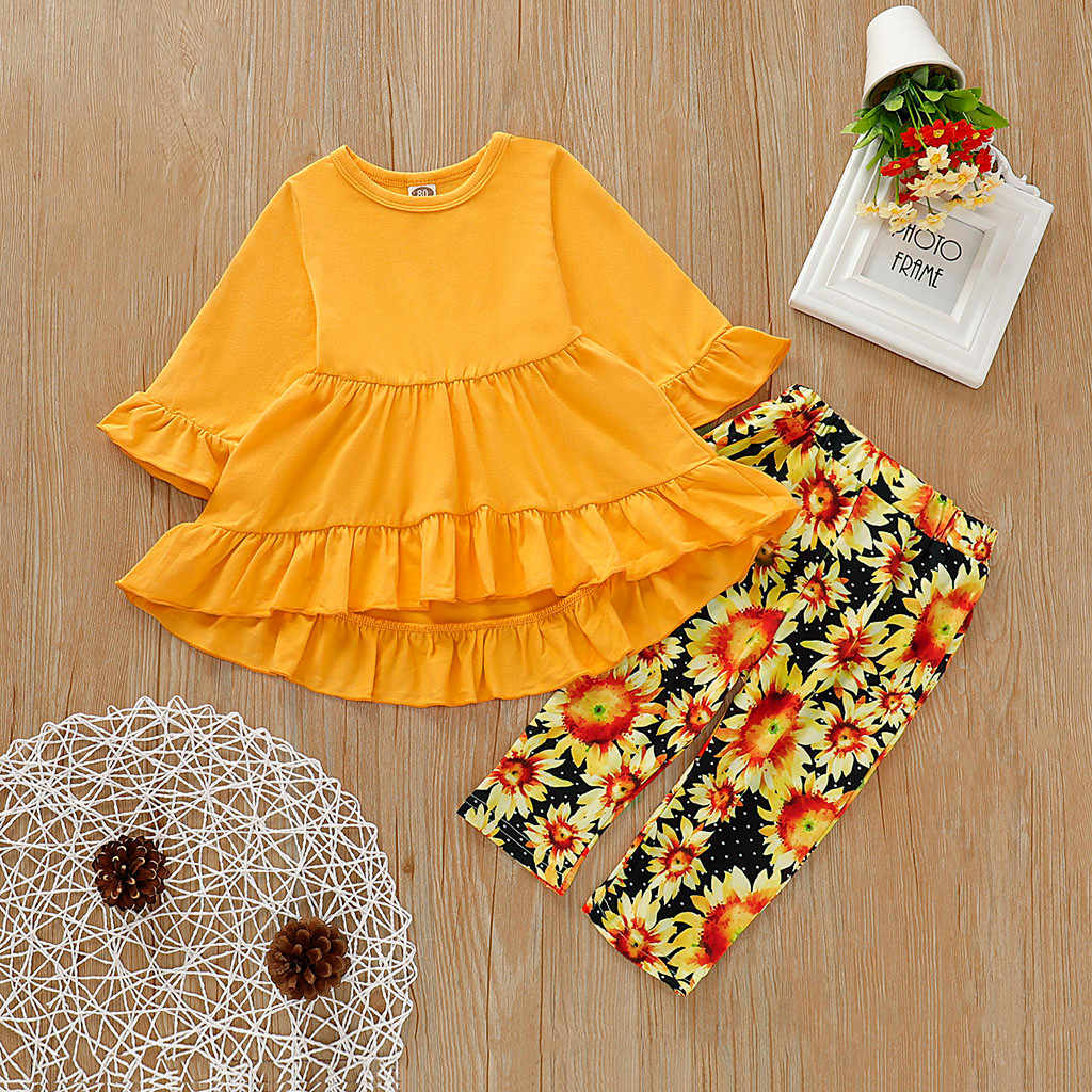 Toddler Kids Baby Girls Solid Bell Sleeve Dress Floral Pants Outfits Set Long Sleeve Round Neck Children Clothes Winter 2019