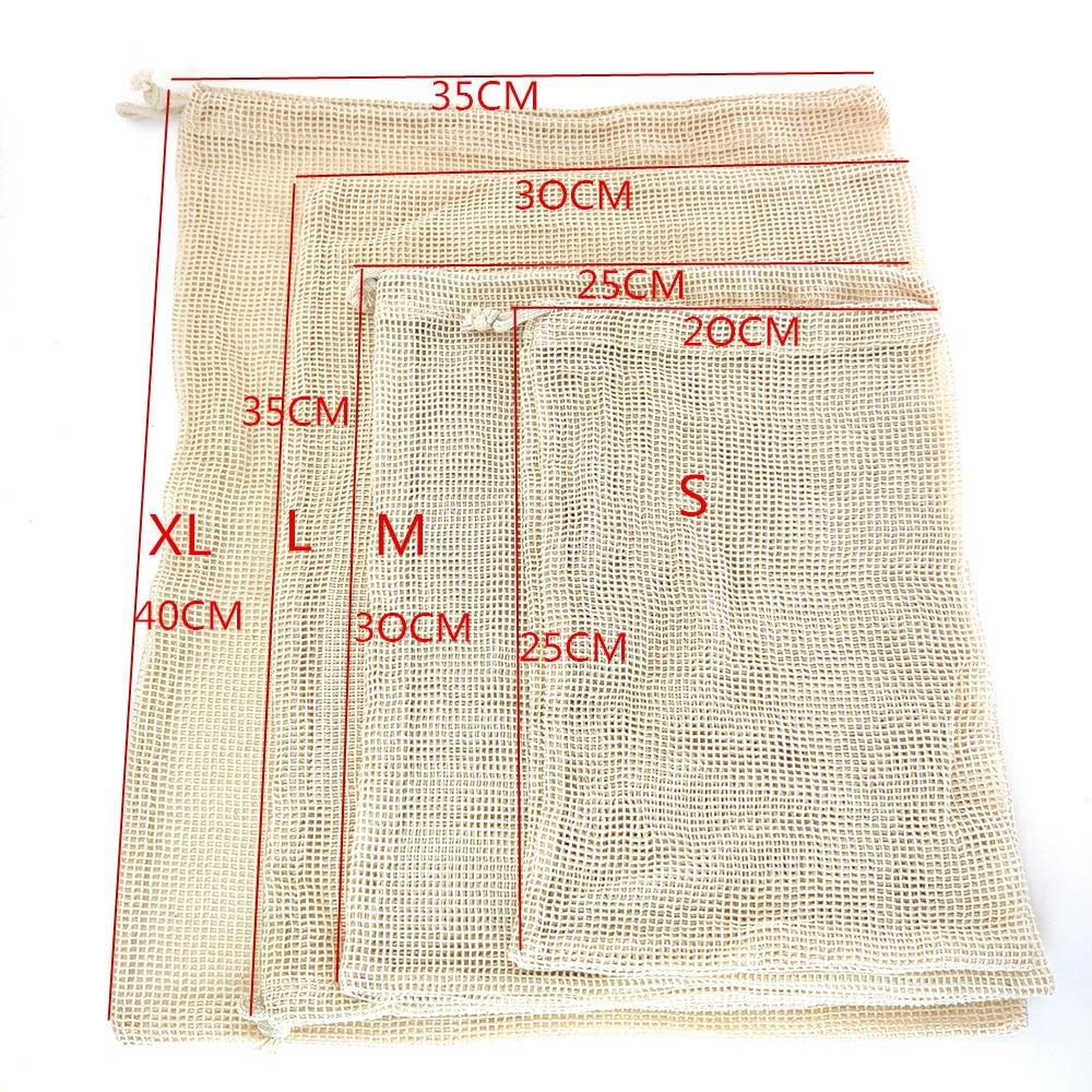 Reusable Organic Cotton Produce Bags Cotton Mesh Bags Biodegradable Eco-Friendly Shopping Storage Bag for Fruit, Vegetable, Toys