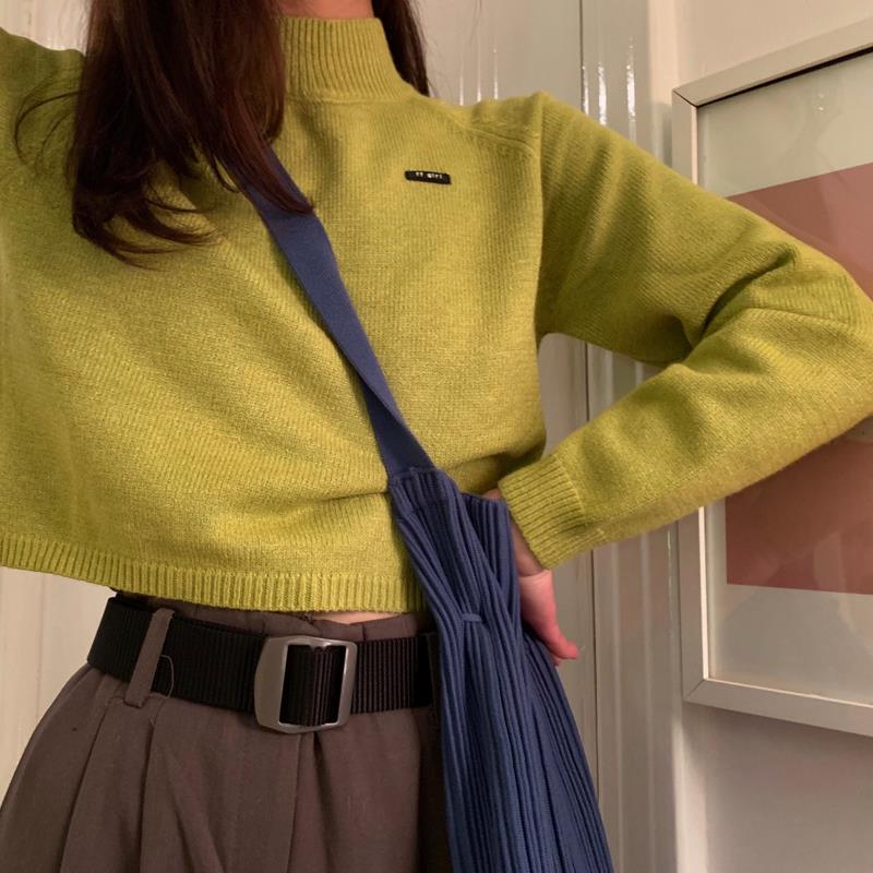 Autumn Ladies Solid Pullovers Sweater Turtleneck Short Style Casual Sweater Tops Fashion Female Long Sleeve Korean Knit Sweater
