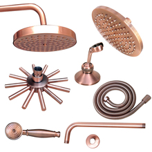 Wall Mounted Antique Red Copper Finish Round Rain Shower Head, Arm Shower Head, Head Holder Bracket, Shower Hose Nsh01 luxury led color changing shower head wall hanger handheld shower arm holder chrome 59 stainless steel shower hose with bracket