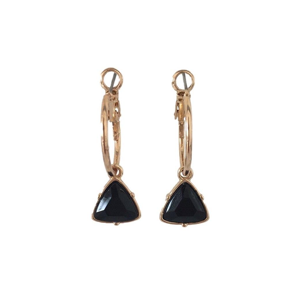 Модные женские сережки с золотым покрытием мятный камень серьги в форме треугольника серьги - Окраска металла: BLACK