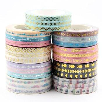 New 5mm Gold foil washi tape set arrows, hearts, stars designs colorful slim 3 rolls/per lot length 10mm