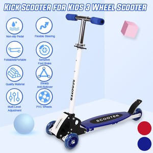 Children's Folding Kick Scooter Volding Aluminum Alloy 3 Wheel Skateboard Kids Adjustable Height Wheel Foot Scooters Toys Gifts(China)