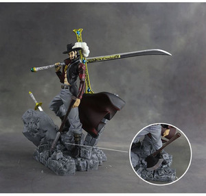 Image 3 - 15cm Scultures Big One Piece Figure Toy Luffy Dracule Mihawk Model Doll With Sword Anime Brinquedos for Children