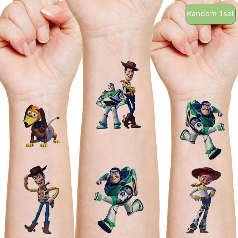 Jouet histoire Originales autocollants de tatouage anime aléatoire 1 pièces figurine d'action Disney film dessin animé enfants filles cadeaux d'anniversaire de noël