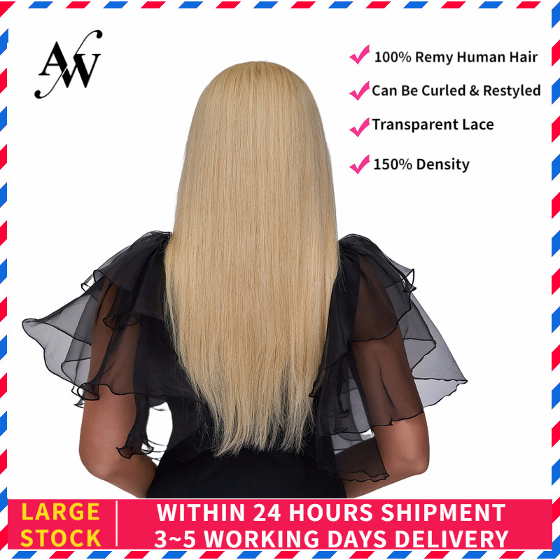 AW 20'' HD Transparent Half Lace Wigs Straight Pre Plucked Hairline Remy Human Hair Wig For Women 150% Density Blond