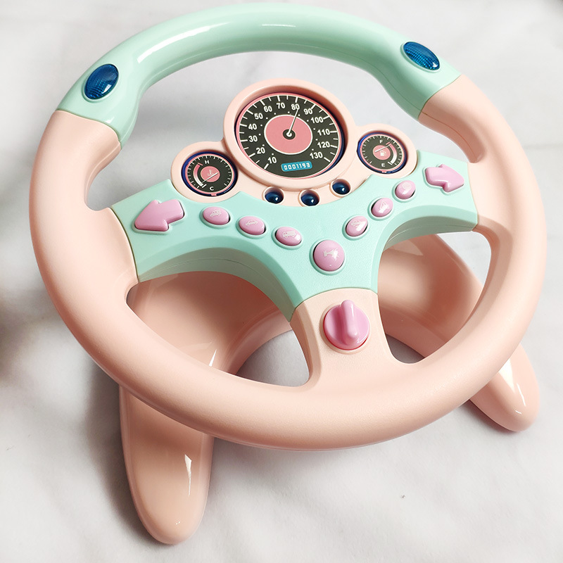 Eletric Simulation Steering Wheel Toy with Light Sound Baby Kids Musical Educational Copilot Stroller Vocal Effect Toys Gift