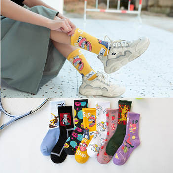 Spring Autumn Cute Socks Women Cotton  Japanese Korean Kawaii Woman with Pink Cartoon Pattern 051501