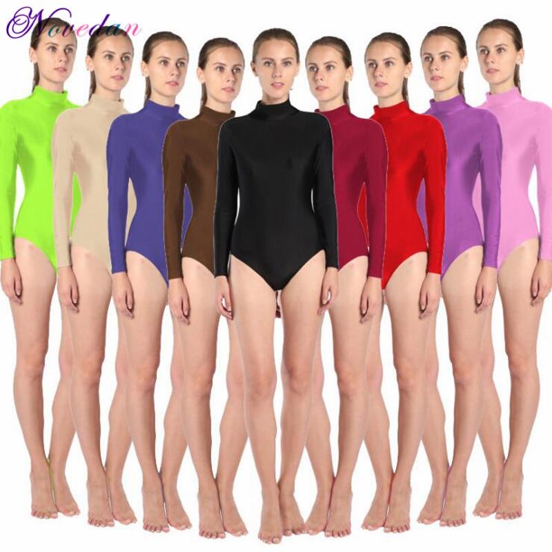 Women Long Sleeve High Neck Ballet Leotard Turtleneck Shiny Metallic Dance Bodysuit Gymnastic Leotard Unitard Adult Dancewear