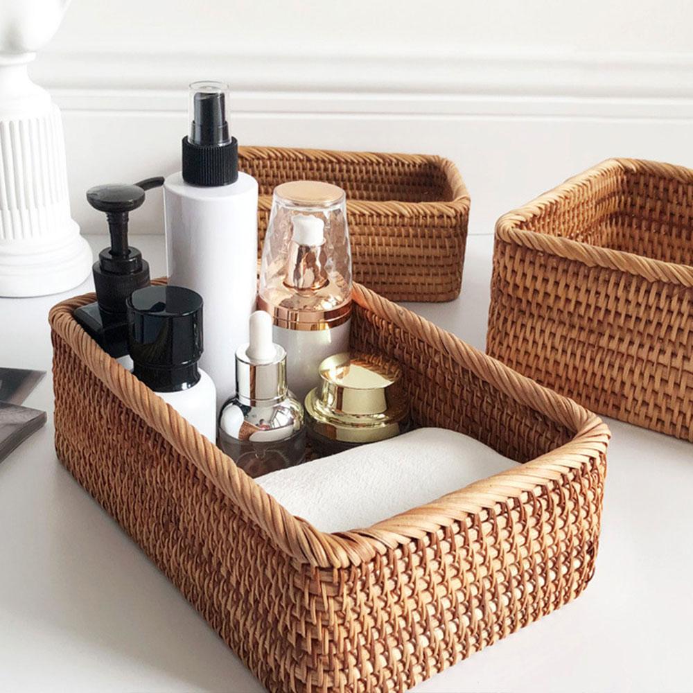 Плетеная вручную прямоугольная искусственная коробка для хранения фруктов, чая, косметики для пикника, кухонные принадлежности, бытовые ин...