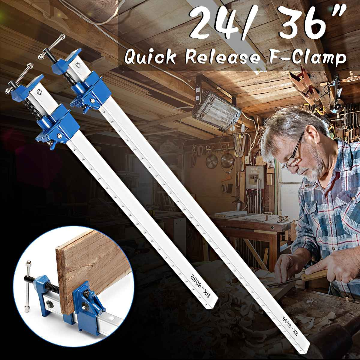 24/36 Inch DIY Geavy Duty F-clamp T-bar Woodworking Fast Clamp Belt Long Drawer Desktop Wooden Handle Hand Tools