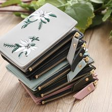 Aelicy mini carteira de couro ao ar livre moda tendência cor sólida flor franjas couro feminino titular do cartão de crédito
