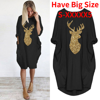 Plus Size Dress Women Casual Loose Tops Elk Printting Sundress 2020 Autumn Winter Ladies O Neck Long Pocket Christmas plus size women half sleeve ruffles casual summer dress sexy o neck a line loose mini everyday dress sundress vestidos feminino