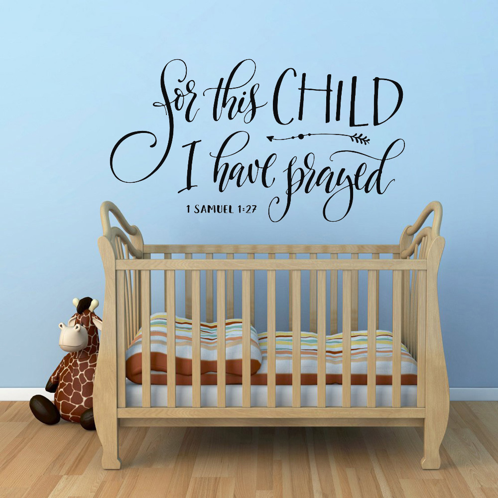 Christian Scripture Quote Wall Decal Vinyl For this child I have prayed Nursery Baby Room Wall Sticker Removable Home Decor Z232