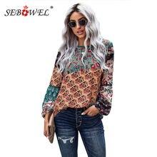 Модные женские блузки sebowel с цветочным принтом топы длинным