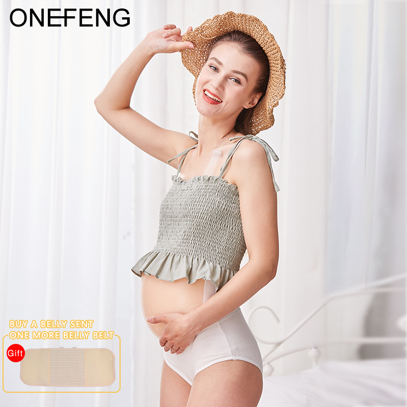 ONEFENG Binding Band Silicone Belly Jelly Belly Baby Bump Doll Fake Pregnant Belly 2000-3000g/pc