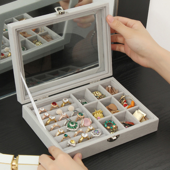 Velvet With Glass Ring Earrings Necklace Bracelets Jewelry Display Organizer Box Tray Holder Storage Carrying Cases Tools velvet with glass ring earrings necklace bracelets jewelry display organizer box tray holder storage carrying cases tools
