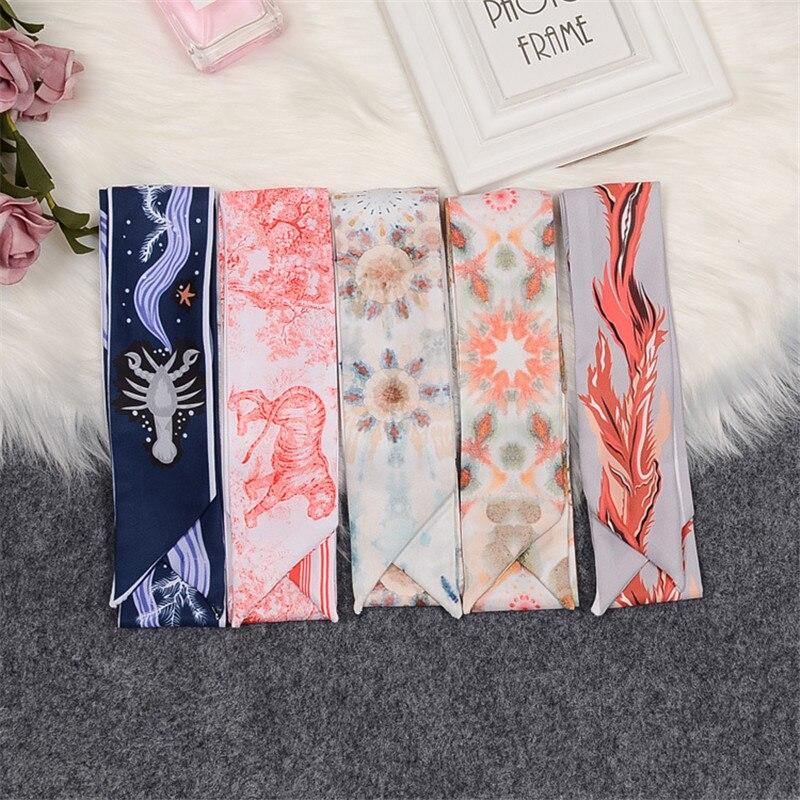 Tropical Plants Butterfly Luxury Brand Silk Scarf Women Skinny Bag Scarves New Design Wrist Towel Foulard Neckerchief Headband