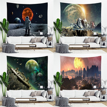 Outer Space Planet Galaxy Print Indian Tapestry Hippie Mandala Wall Hanging Bohemian Bedspread Dorm Decor