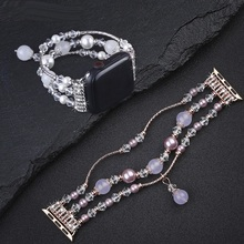 Handmade Elastic Stretch Crystal Pearl Bracelet BAND For apple watch 5 4 3 2 1 40MM 44MM Bling strap for Iwatch 38mm 42mm