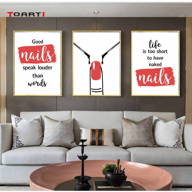 Nails Quote Prints Posters Motivational Letters Canvas Painting On The Wall Red Pictures For Living Room Bedroom Home Decor Art