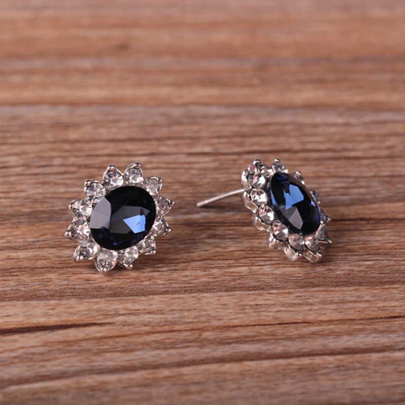 3 יח'\סט צבע שרשרת סט לנשים אפריקאי תכשיטי יום נישואים מתנה כחול קריסטל אבן חתונה תכשיטים עבור כלות