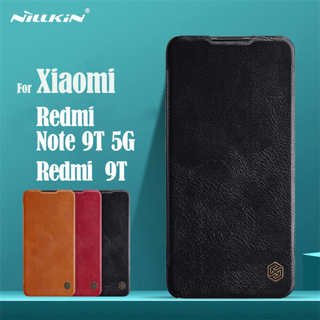 For Xiaomi Redmi Note 9T 5G Flip Case Nillkin Qin Leather Flip Cover Card Pocket Wallet Book Cases For Redmi 9T Note9T Phone Bag