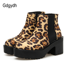 Gdgydh 2019 New Spring Autumn Leopard Shoes Women Chunky Heel Ankle Boots Platform Elastic Band Comfortable Casual Fashion