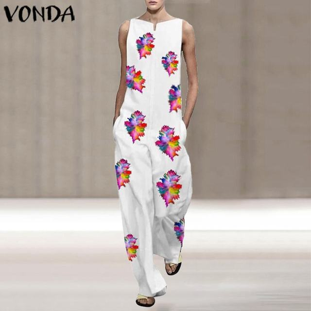 VONDA Vintage Rompers Womens Jumpsuits 2020 Ladies Casual Floral Printed Long Playsuits Bohemian Overalls S-5XL Women's Trousers 1