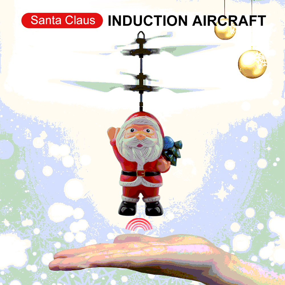 Mini ufo Flying Inductive Drone Rc Quadcopter Santa Claus Remote control Helicopter Toy Christmas Gift for Kids Children Toys|RC Helicopters| |  - title=
