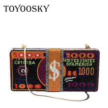 TOYOOSKY 2020 New Stack of Cash Funny Money Bag Women Crystal Box Clutch Evening Bags Ladies Cocktail Party Purses and Handbags цена 2017