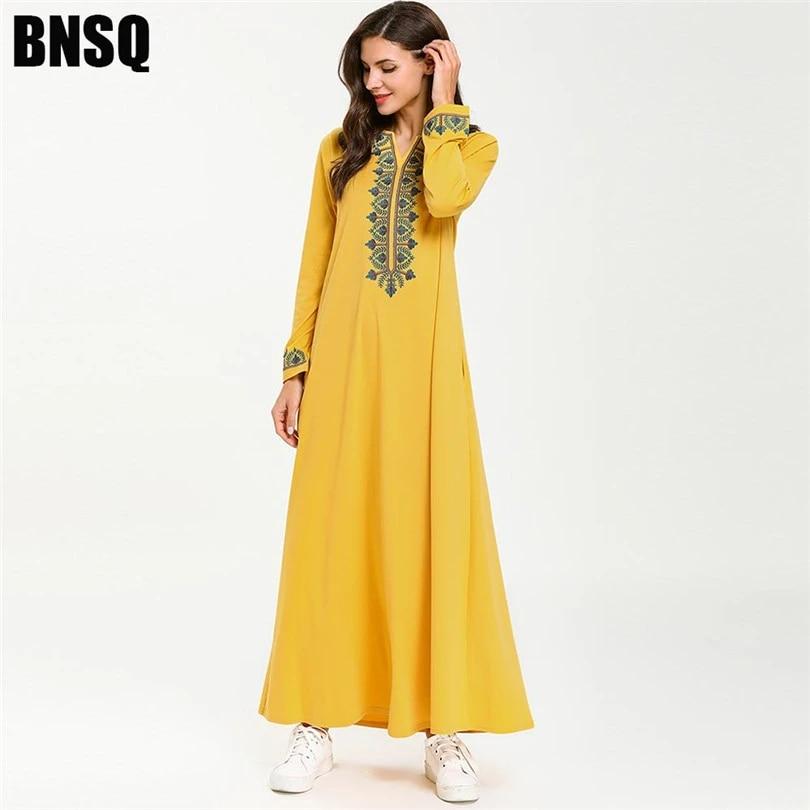 Dubai Abaya Embroidery Maxi Dress Long Sleeve Robe Muslim Jilbab Kaftan Gown New